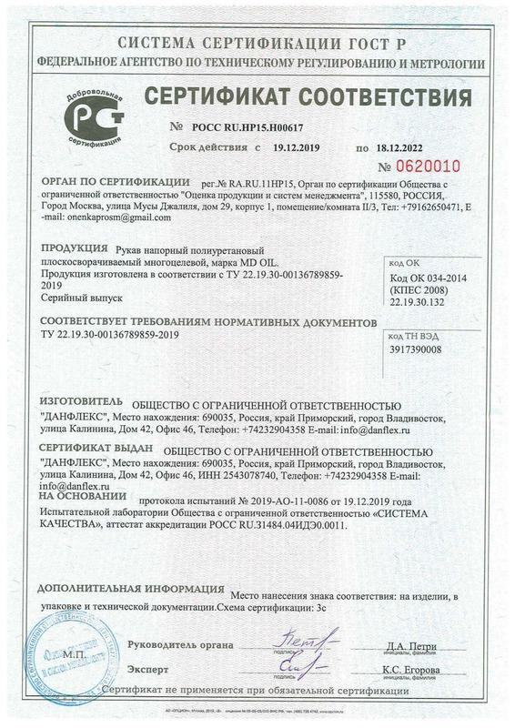 Сертификат соотвествия ТУ 22.19.30-00136789859-2019 19.12.2019-18.12.2022 Рукав MD OIL
