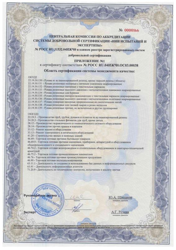 Данфлекс сертификат ISO